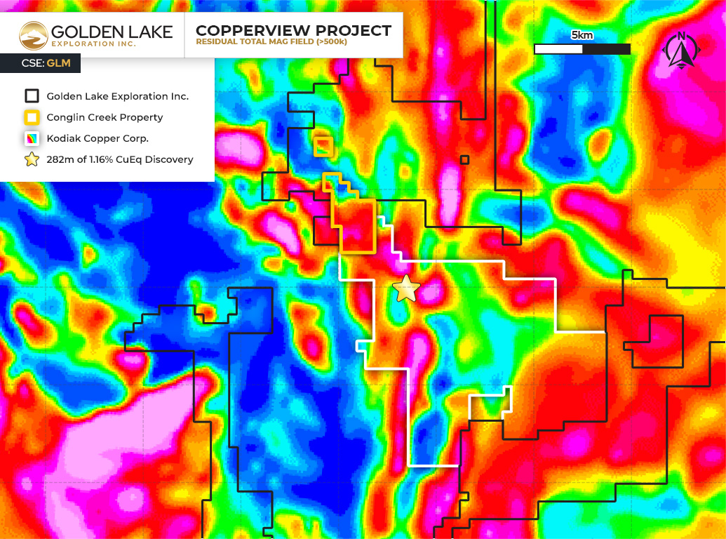 Figure 1. Location map of the Conglin Creek Property on the BC Airborne Magnetic Overlay